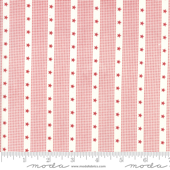 Mackinac Island Cream Red Stripes designed by Minick & Simpson