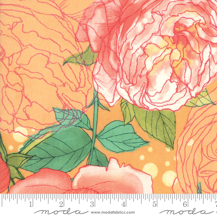 Abby Rose Citrus Cabbage Rose by Robin Pickens for Moda 48670-13
