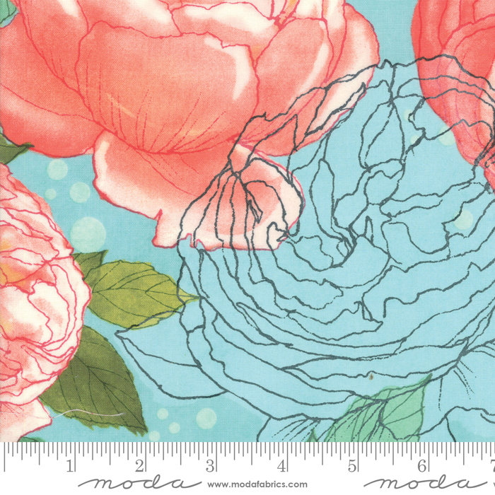 Abby Rose Large Floral Seafoam