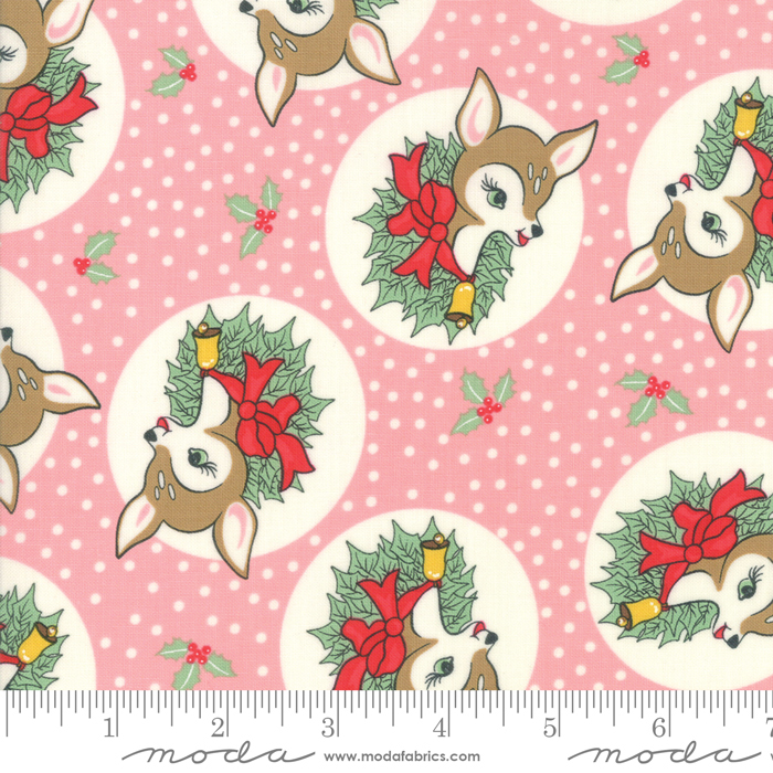 Deer Christmas Polka Dot Deer Pink Buttermint