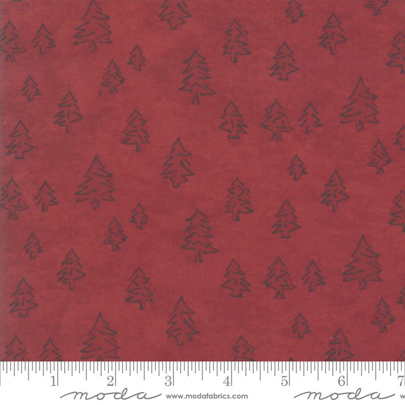 Winter White Trees Crimson 6814-11