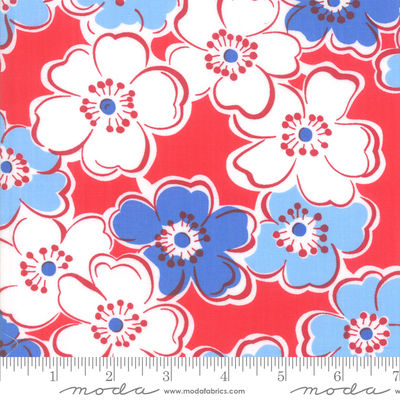Back Porch by Me and My Sister - Flowers - Red - Moda 22390 11