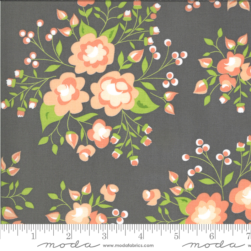 Apricot Floral on Ash by Corey Yoder for Moda Fabrics