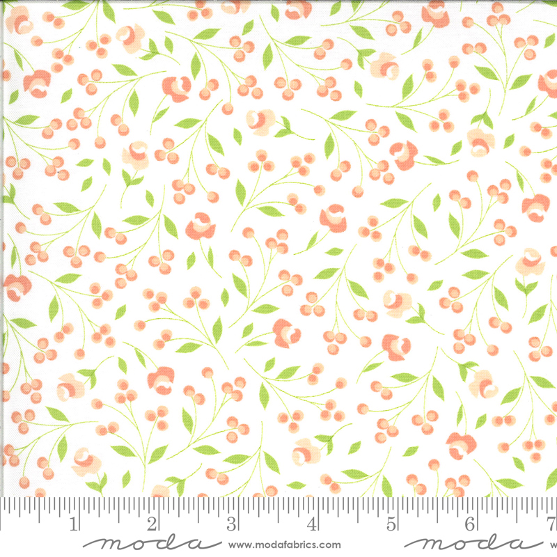 Apricot Ash mini floral on Cloud by Corey Yoder for Moda Fabrics