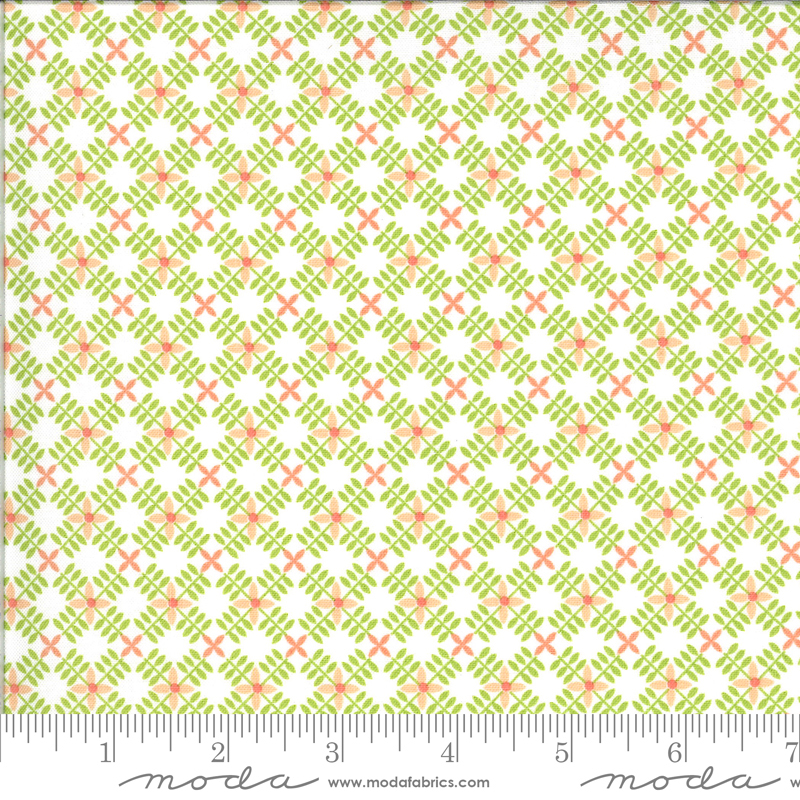 Apricot Ash Criss Cross on Pistachio by Corey Yoder for Moda Fabrics