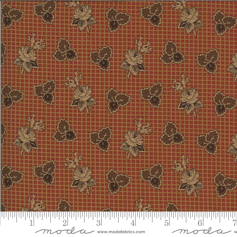 Yesterday by Jo Morton - Rose and Tri Leaf - Rust - Moda 38100 13