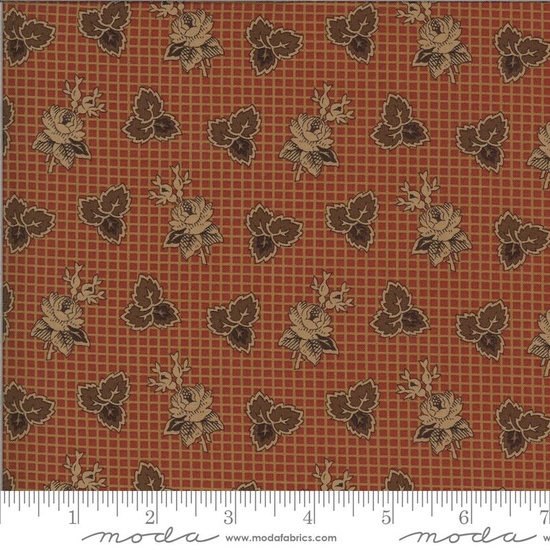 Yesterday Rust Floral Print Yardage