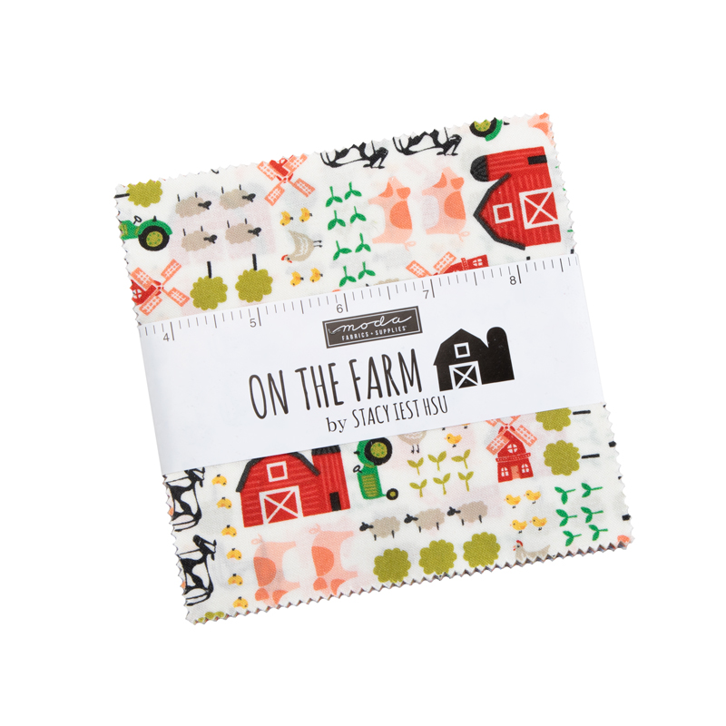 On The Farm Charm Pack, 42 - 5 squares designed by Stacy Iest  Hsu for Moda.  .  Some repeats