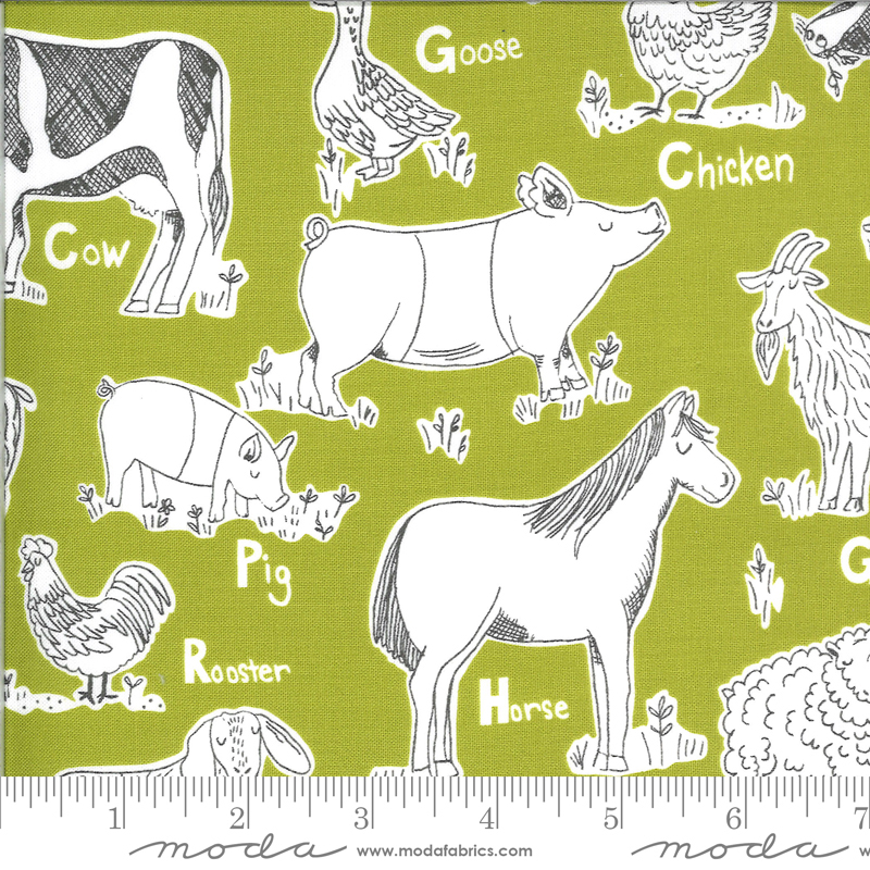Animals Fabric - Green On The Farm Collection by Stacy Iest Hsu from Moda Fabrics