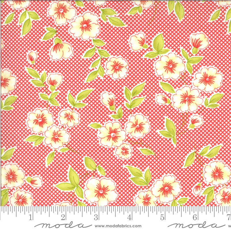 Figs Shirtings Floral Barn Red 20390 13