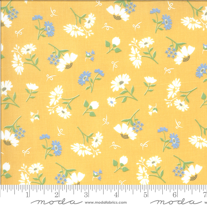 Spring Brook Sunny white and blue floral on yellow