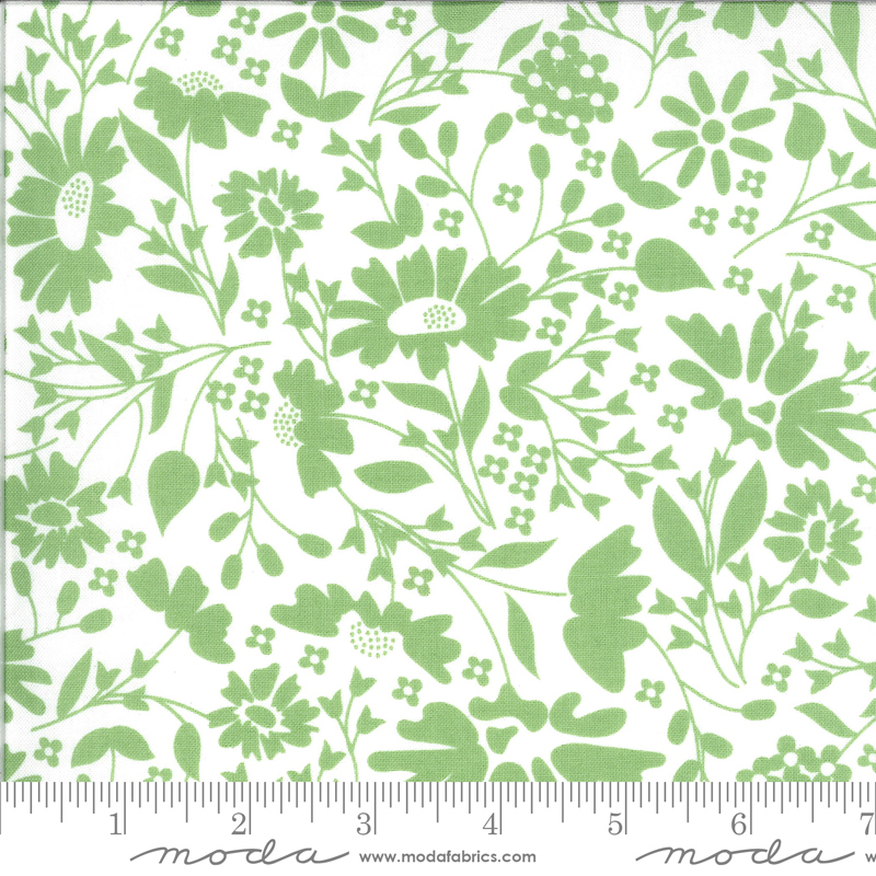 Spring Brook Sprout green floral on white