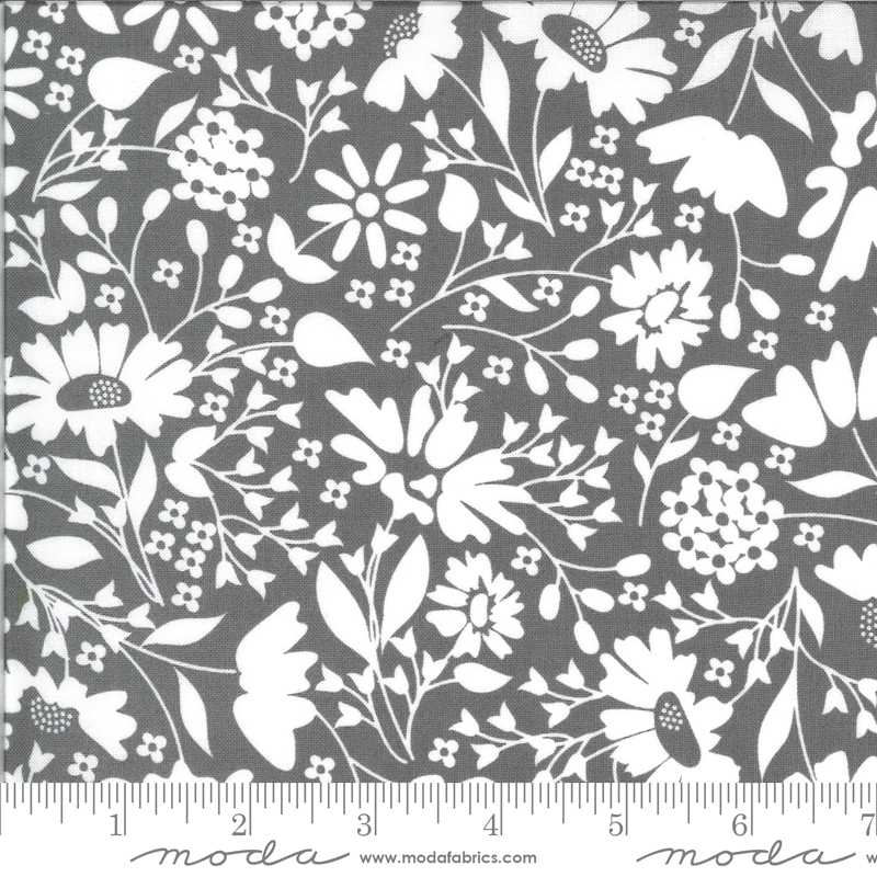 Spring Brook Slate white floral on charcoal