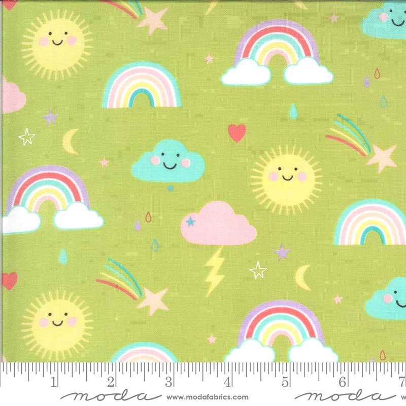 Hello Sunshine by Abi Hall - Rainbows - Lt Green - Moda 35350 18