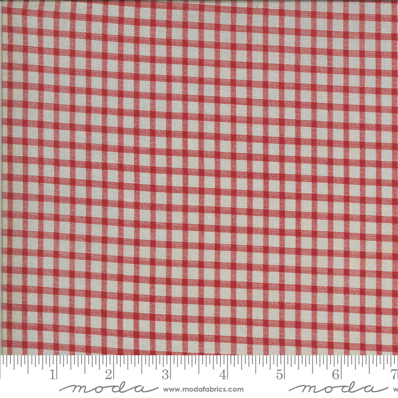 Roselyn Gingham Taupe Red