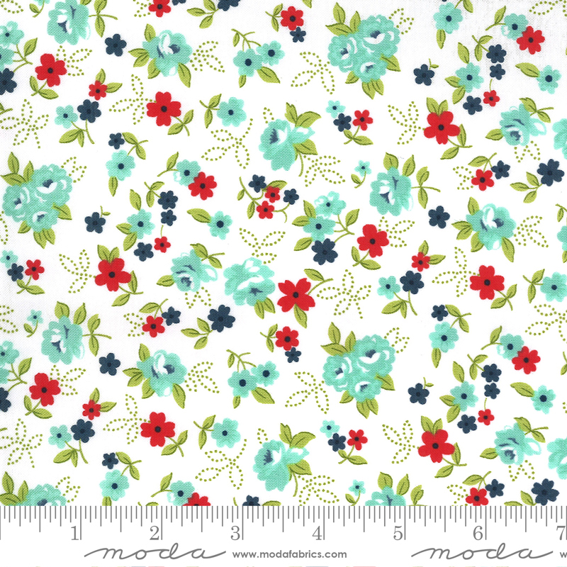 All Over Flowers Fabric - White Aqua Sunday Stroll Collection by Bonnie & Camille from Moda Fabrics