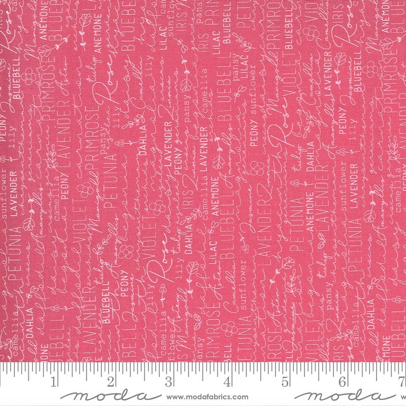 Fabric-Moda Spring Chicken Words on Pink
