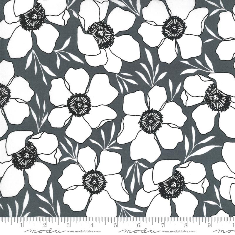 Illustrations Graphite Moody Florals Fat Quarter