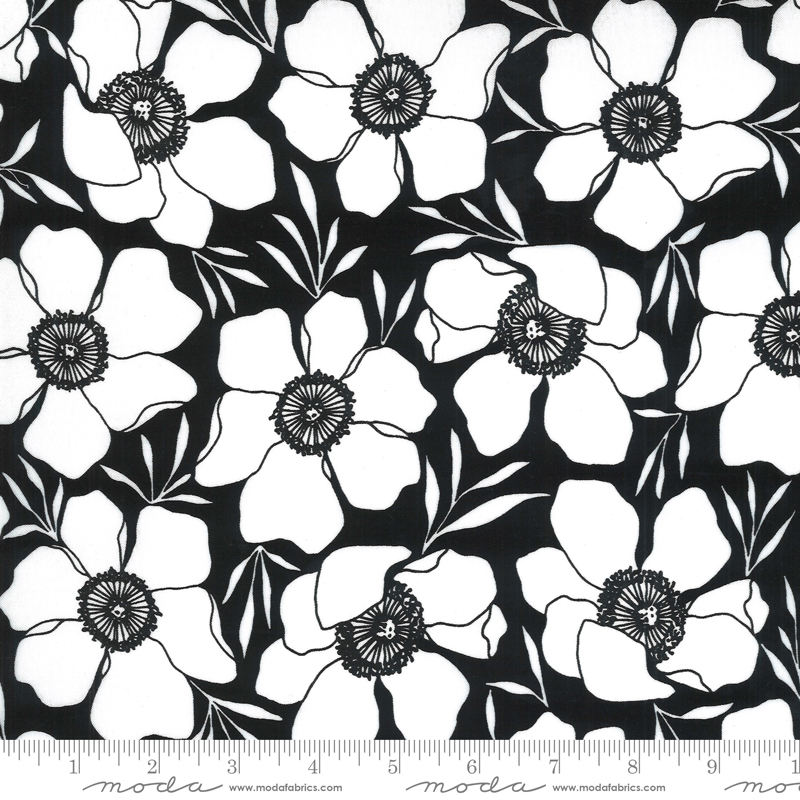 Black Floral Illustrations PVC laminated Cotton (21E)
