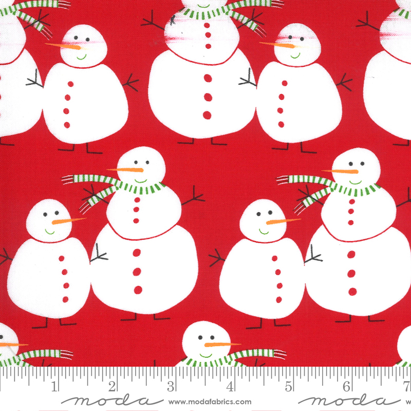 Merry Bright Snowmen Poinsettia Red