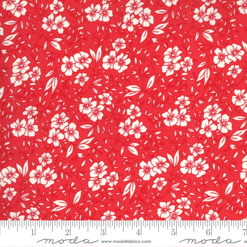 30s Playtime Friendly Blooms Floral Scarlet