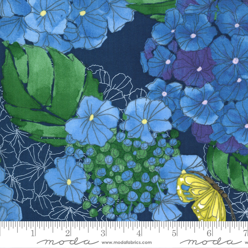 Cottage Bleu Midnight by Robin Pickens for Moda