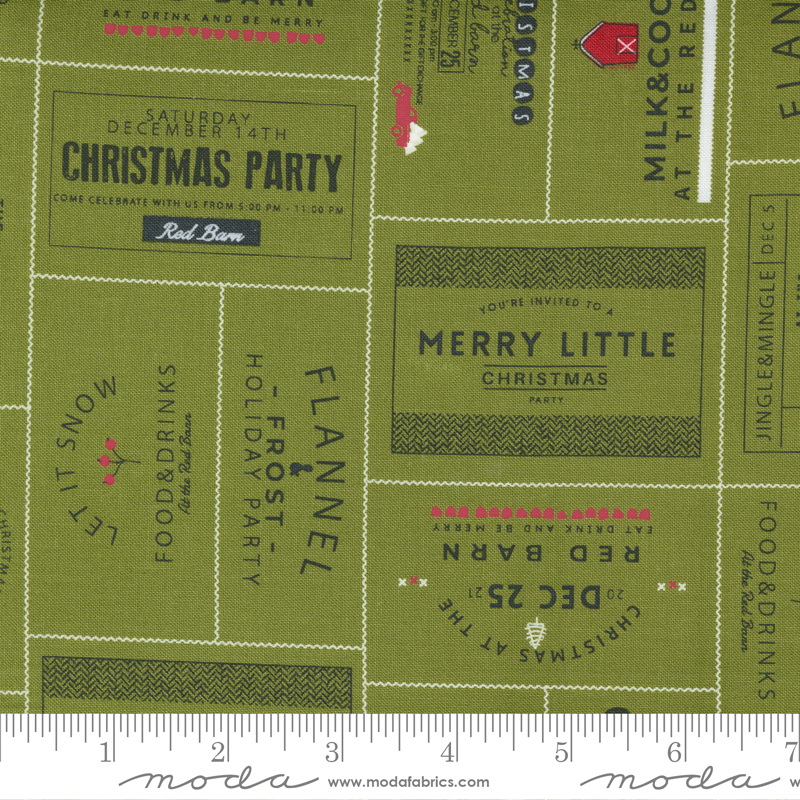 Red Barn Christmas Grass Labels