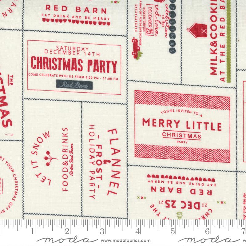 Red Barn Christmas Invitation Labels Vanilla Red