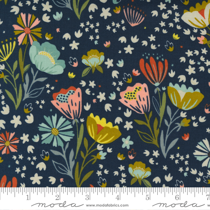 Songbook - Posie Pocket Floral Focal Abstract Floral - Midnight