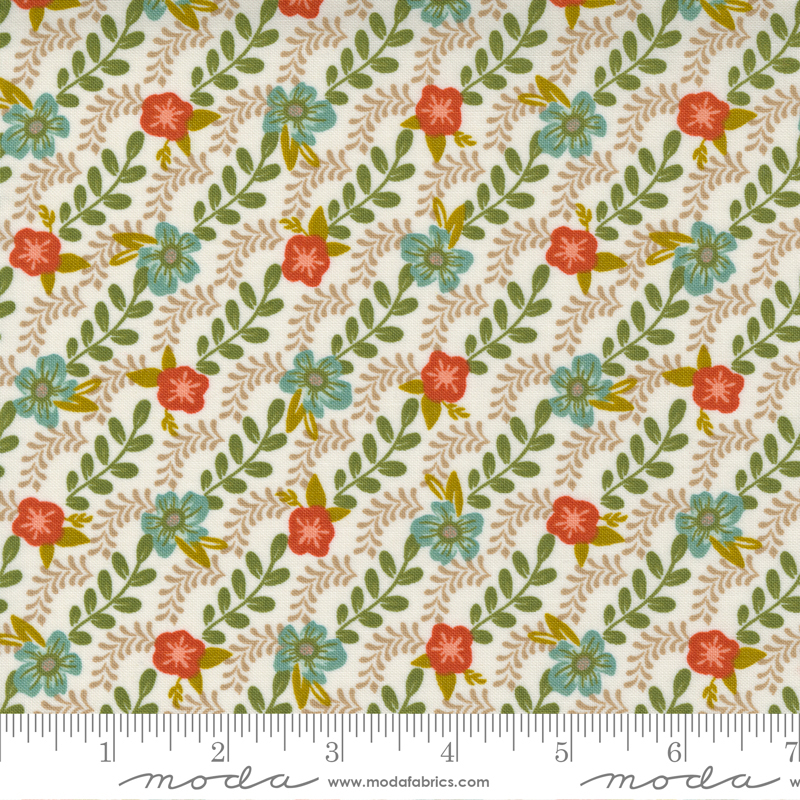 Songbook - Trellis Climb Floral Stripe Bias Stripe Garland Scallop - Dove Wing