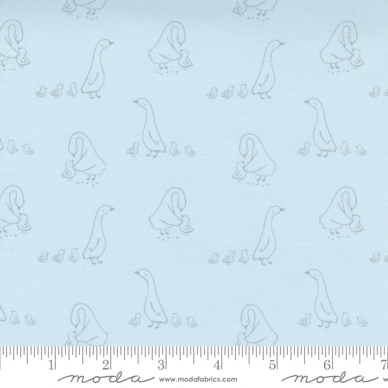 Little Ducklings by Paper and Cloth - Duck Walk - Blue - Moda 25103 15
