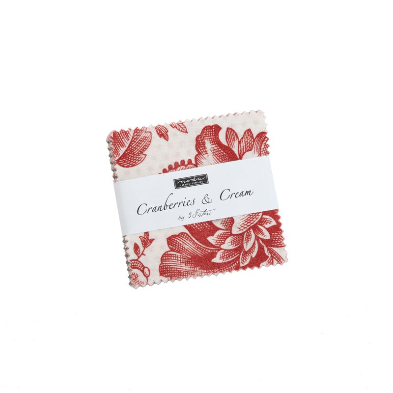 Cranberries Cream Mini Charm (42 Pieces) - 3 Sisters - Moda