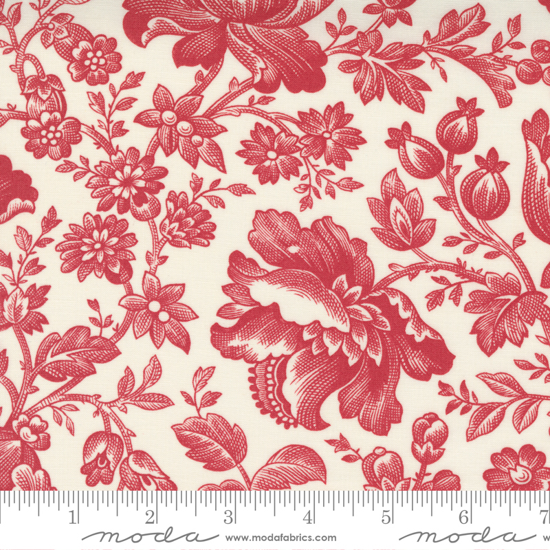 Cranberries and Cream -  Cream/Cranberry Floral Berry toile