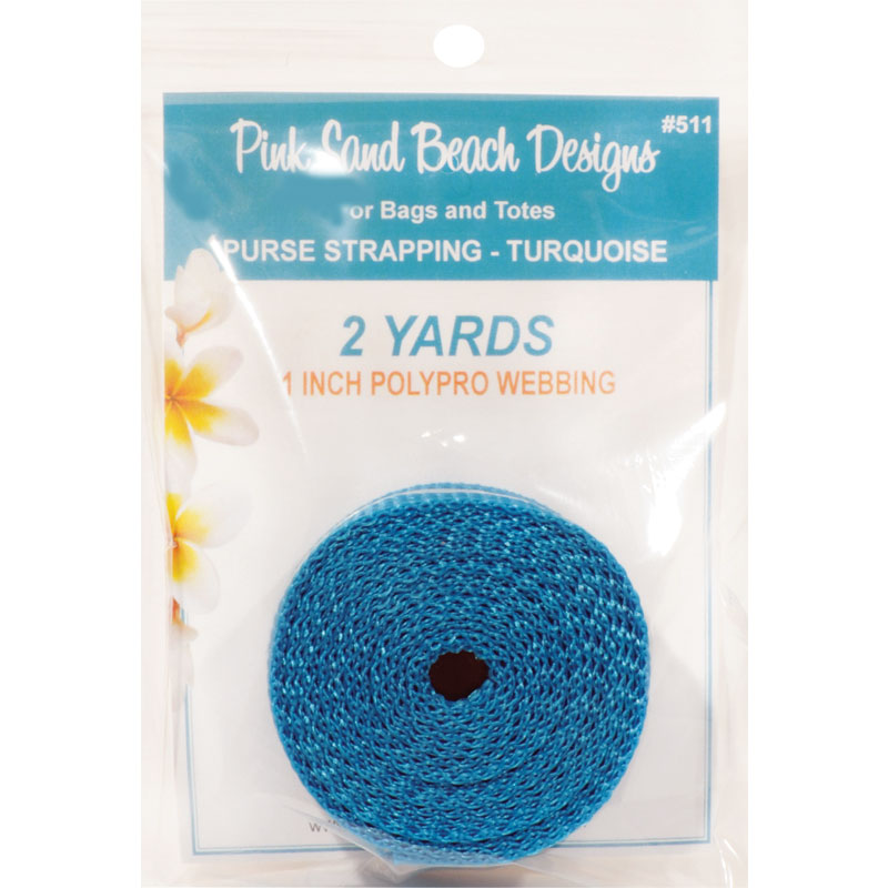 Purse Strapping, 1 x 2yd Turquoise, by Pink Sand Beach Designs