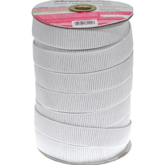 Elastic 1 flat non roll white (cut by the yard)