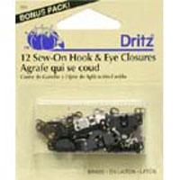 Sew On Pant Hooks & Eye 4ct Blk