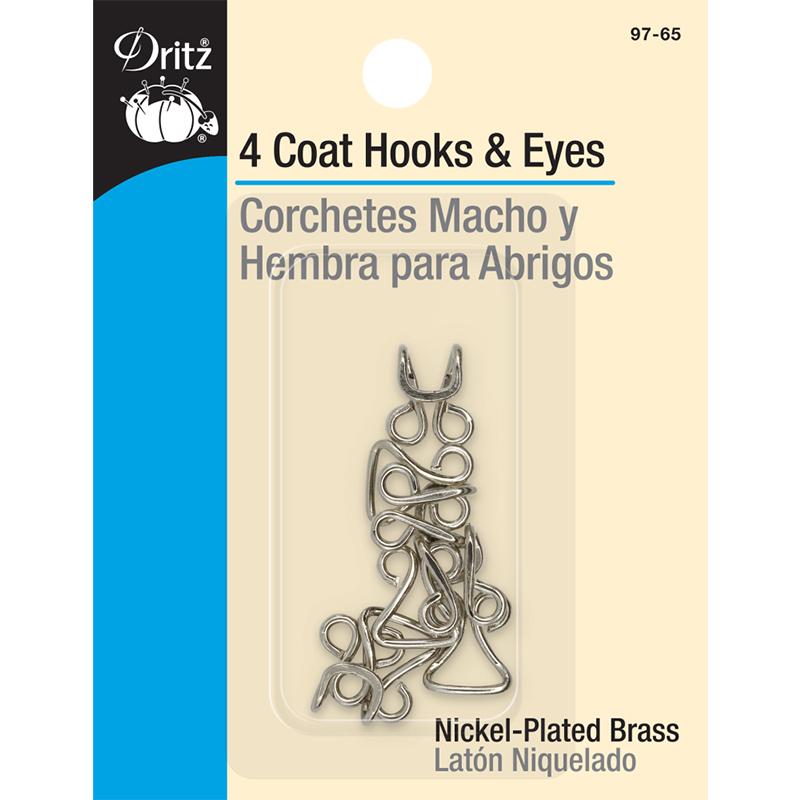 Coat Hooks & Eyes 4ct Nickel
