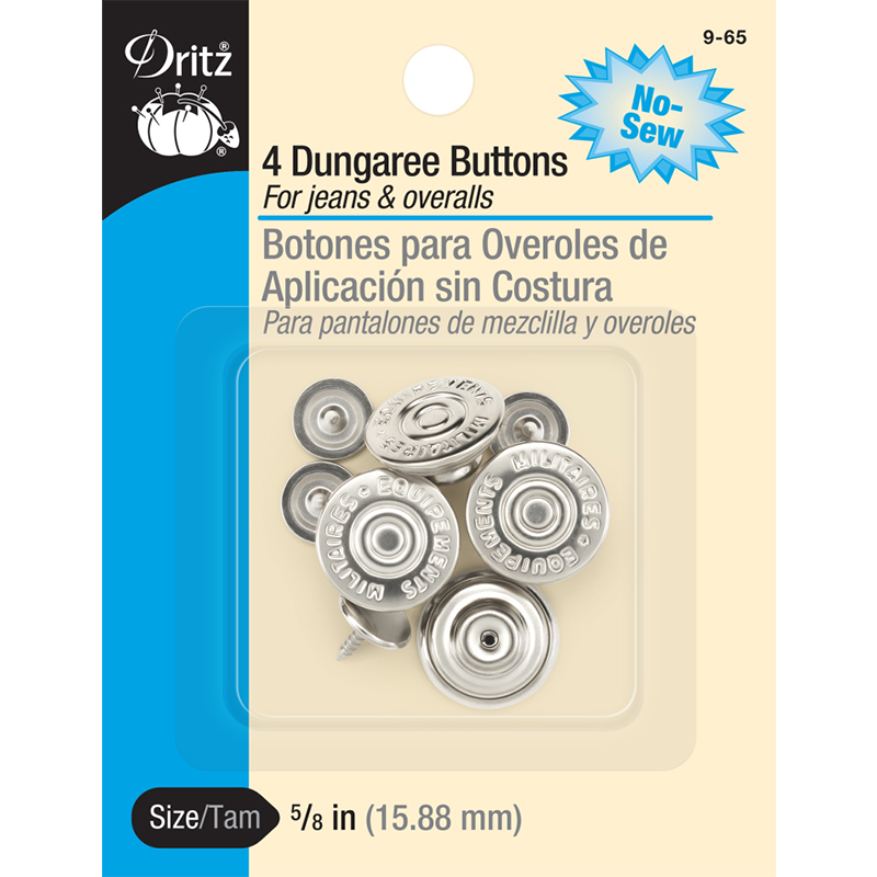 Dungaree Buttons 5/8 4ct Nickl