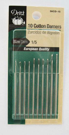 Dritz 10 Cotton Darners Hand Needle sz1/5 10ct