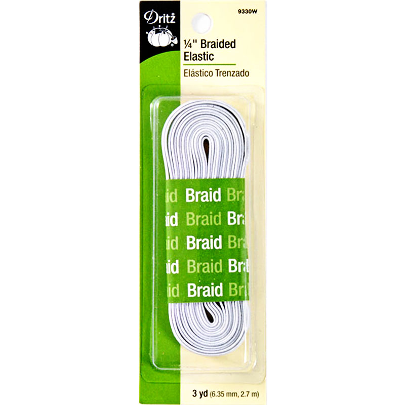 Braided Elastic 1/4 in. wide -  White