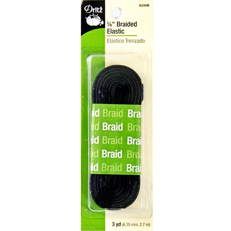 Dritz- Braided Elastic 1/4 inch x 3yd (Black)