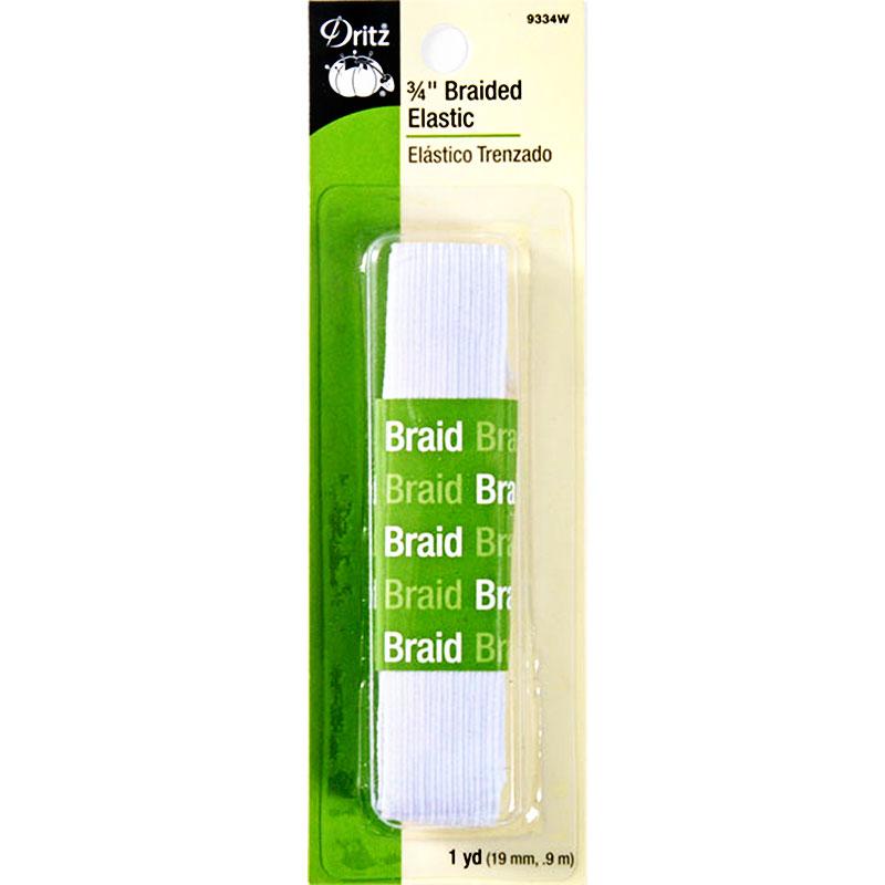Dritz Braided Elastic 3/4 in wide - White