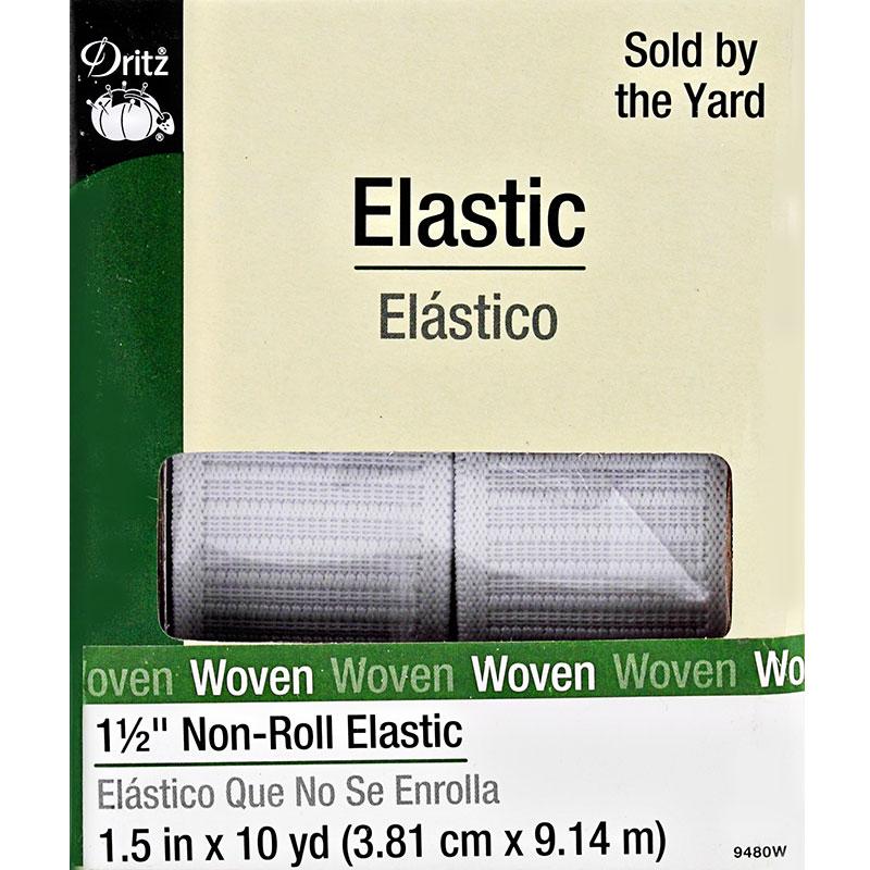 Non Roll Elastic 1 1/2  White 10 yards
