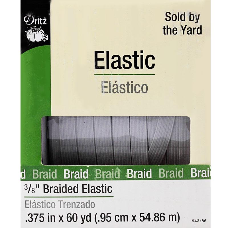 Braided Elastic 3/8 White
