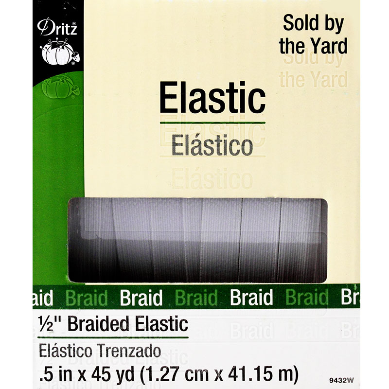 Braided Elastic 1/2 White