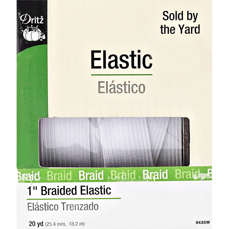 White Braided Elastic 1 White
