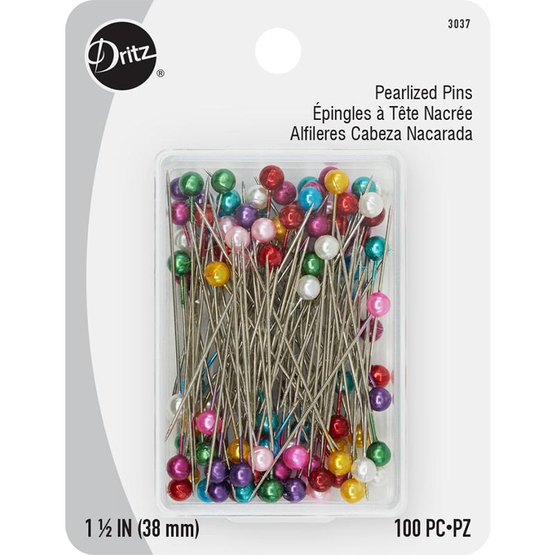 Pearl Head Pins 1 1/2 Multi 100 ct