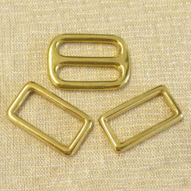 Brass Slide Buckle / 2 Rectangle Link Combo 1