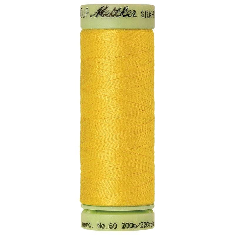 Silk-Finish 60wt Solid Cotton Thread 220yd/200M Vibrant Yellow