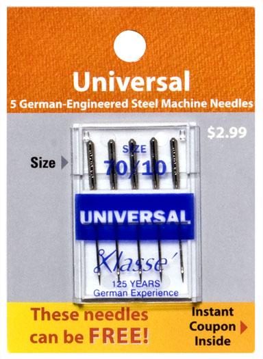 Klasse Universal Needles (5 pk) Size 70/10